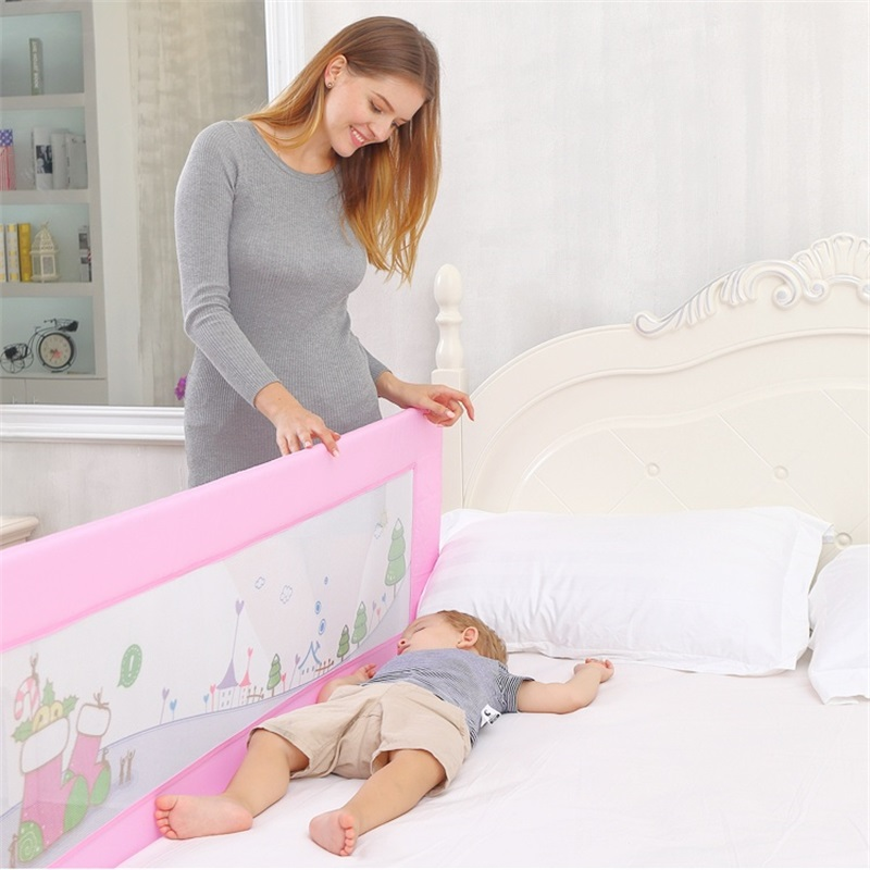 Crib Fence Baby Safety Bed Guardrail Protection Folding Durable Plus Storage Bag Anti-clip Child Bed