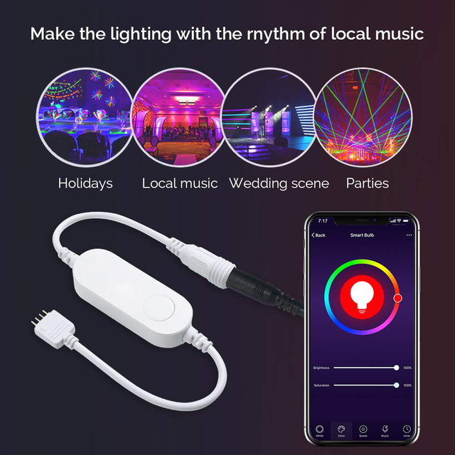 WiFi RGB LED Light Strip Smart Controller timer Control Wireless Voice Control Compatible with Alexa Google IFTTT APP Smart life 3