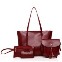 4Pcs/Set Large Capacity Shoulder Bag For Female PU Leather Crossboby Bag Lady 4 Colors Women Tote Handbag for G