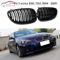 E60 z włókna węglowego przednia krata zderzaka nerek kraty siatki dla BMW serii 5 E60/E61 525i 530i 535i 2004 2009 czarna kratka w Kratki wyścigowe od Samochody i motocykle na