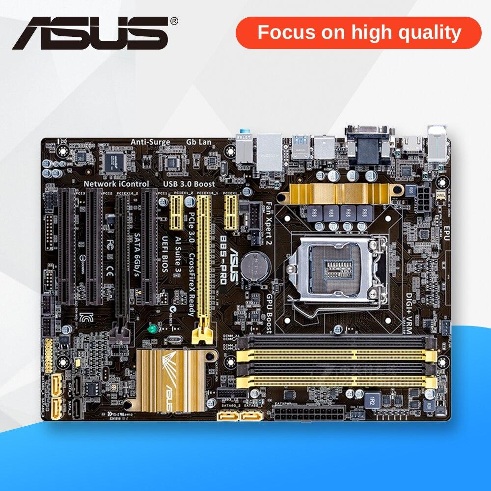Asus B85-PRO Desktop Motherboard B85 Socket LGA 1150 i7 i5 i3 DDR3 32G SATA3 USB3.0 ATX used for asus b85m d plus desktop motherboard b85 socket lga 1150 i7 i5 i3 ddr3 16g sata3 micro atx