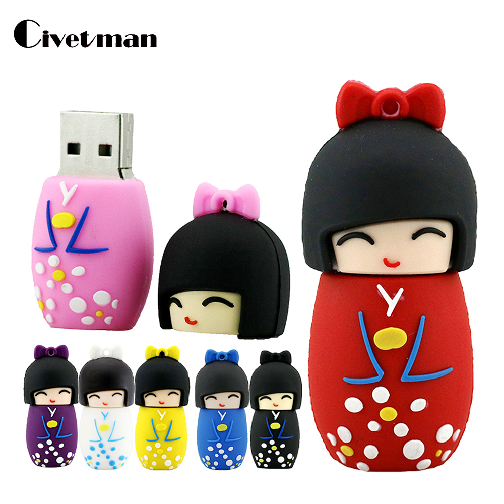 Cartoon USB Flash Drive Kukulla Japoneze Kimono Stilolaps Drive 4GB 8GB 16GB 32 GB 64GB 128 GB 128 GB USB 2.0 Flash Memory Stend Pendrive