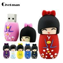 Мультфильм USB флешка японские куклы кимоно девушка Pen Drive 4ГБ 8ГБ 16ГБ 32ГБ 64ГБ 128 ГБ USB 2,0 флэш-памяти флешки