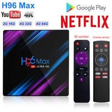 H96 MAX 9.0 Android TV Box Rockchip RK3318 4K Smart TV Box GB RAM 64GB H.265 4K Google Voice 2.4G&5G Wifi BT4.0 Media Player цена