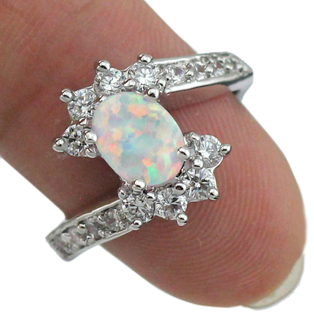 HAIMIS Drop Ship White Fire Opal CZ Fashion Jewelry Women Opal Rings Size 6 7 8