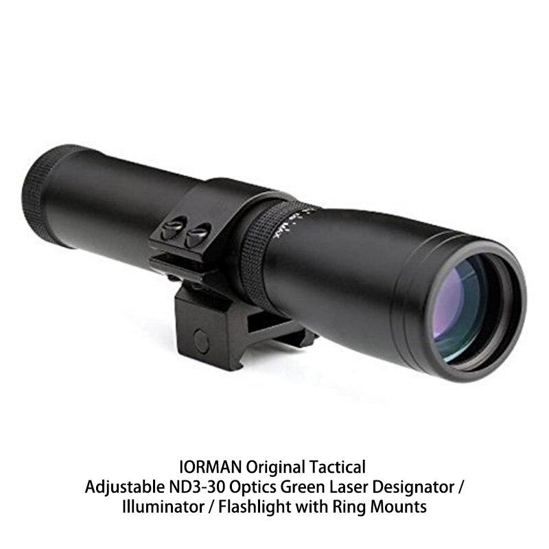 IORMAN Original Tactical Adjustable ND3-30 Optics Green Laser Designator / Illuminator / Flashlight with Ring Mounts