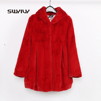 2017 Winter Solid Hooded Womens Faux Fur Coat Female Solid Turn Down Collar Puff Sleeve Outwear Thick Warm Fur Vest