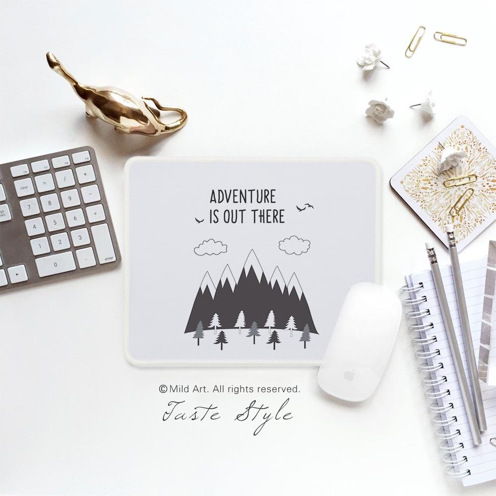 Черный и белый Mountain мотивирующие цитаты Приключения Nordic Стиль творческие подарки PC Gamer игровой компьютер Мышь подушечки, коврики, набор ...