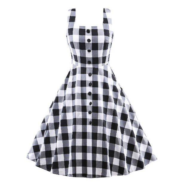 4e3f6a3bf9de6 KVZKG 2017 Vintage Summer Dress Women Black White Plaid Check Print Party  Dress Sleeveless Buttons Casual Clothing Vestidos