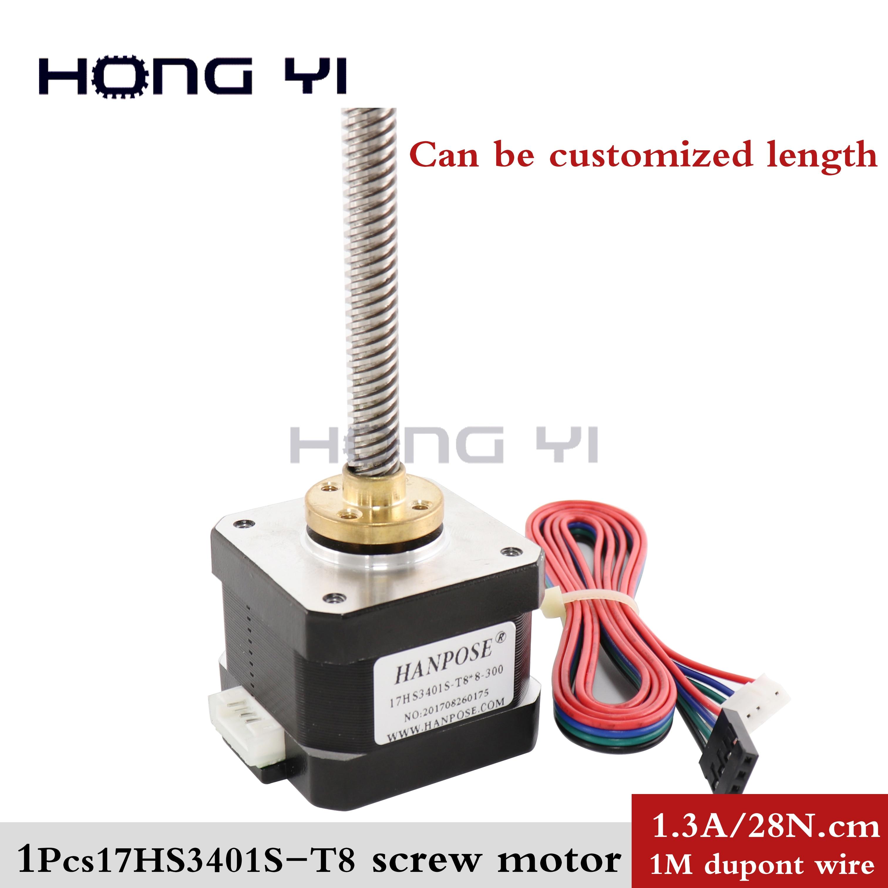 Винт шаговый 17HS3401S-T8 8 мм nema17 шаговый двигатель шаговый шаг с латунной гайкой для лазера CE ROSH ISO CNC и 3D принтера, бесплатная доставка
