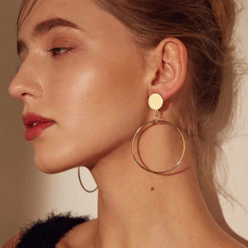 Simple fashion geometric Gold color Drop Earring pendientes 2019 Metal round Earring for women Party Wedding Ear Jewelry Gift kolczyki