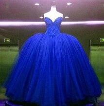 Bealegantom New 2019 Royal Blue Quinceanera Dresses Ball Gown Crystals Lace Up Vestido De Debutante Sweet 16 Party Dress QA1465