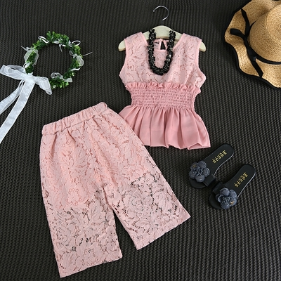 Sinyuer Cat Girls Lace Clothes Set Pink Sleeveless Vest Shirt +Lace Floral Pants Slastic Waist Elegant Clothing Suit