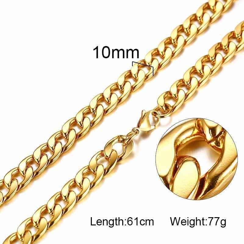 Srebrny złoty wypełniony stałe naszyjnik łańcuchy Link mężczyźni Choker ze stali nierdzewnej mężczyzna kobieta akcesoria mody