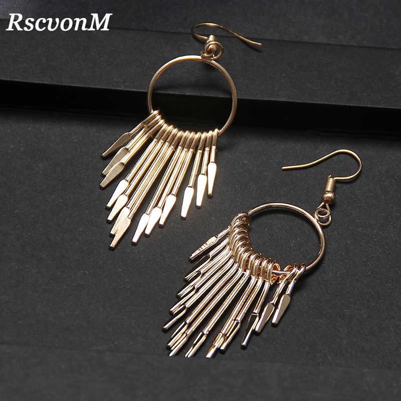 RscvonM Boho Gold Silver Color Long Tassels Earrings for Women Lovely Big Water Drop Earrings Bijoux Femme Fashion Jewelry Gift