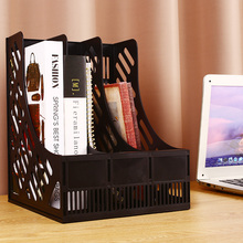 Desk File Stand Document Storage Three Sections Plastic Magazine Home Classify Economic Pen Holder Organizer Stationery Office