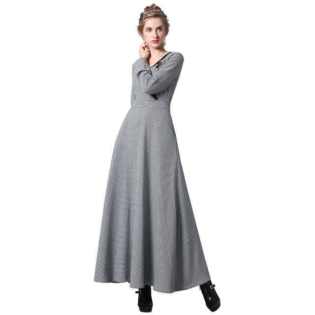 DF Luxus Vintage V ausschnitt Herbst Kleid Abend Formale Karierten ...