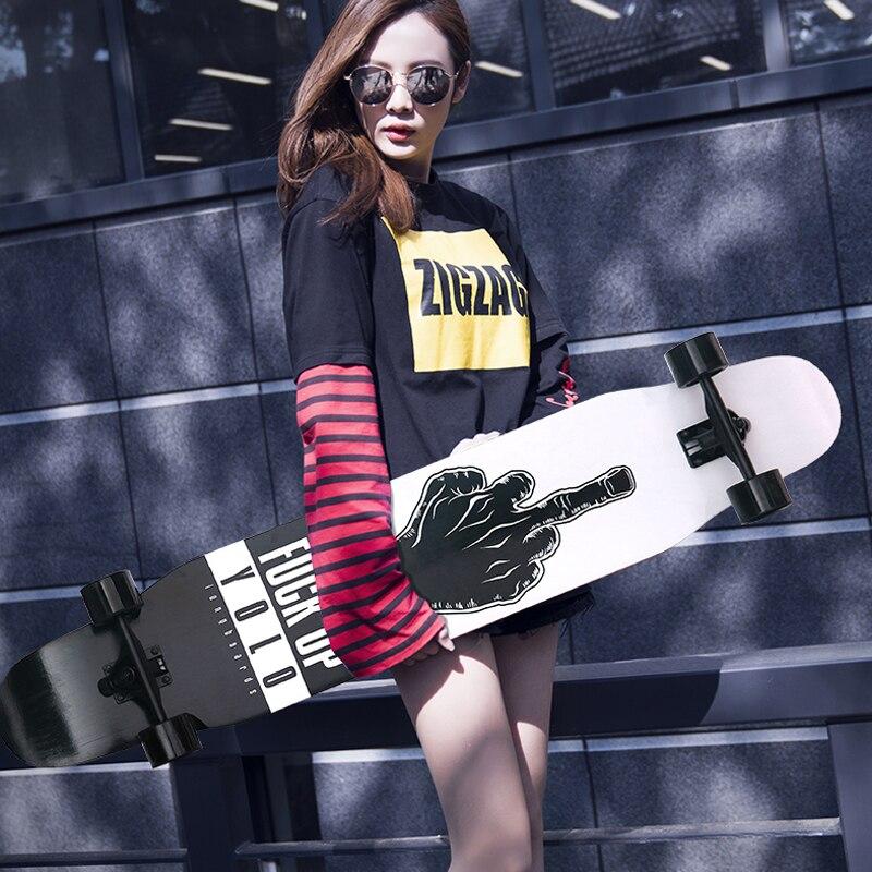 Professionnel de Planche À Roulettes D'érable Canadienne Lonboard planche de skate 4 Roue Descente Rue De Danse Conseil de La Dérive de Rouleau-conseil 107 & 117 CM