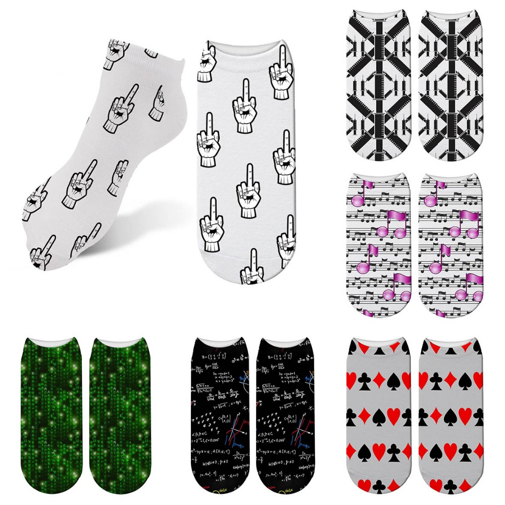 Harajuku Geometric 3D Print Kawaii Sock Women Kawaii Cute Casual Popular Ankle Gracioso Socks Art Funny Socks 5ZJQ-ZAS05