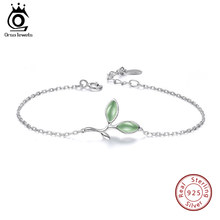 ORSA JEWELS Genuine 925 Women Bracelets Leaf Branch Female Sterling Silver Bangle Romantic Style Girls Birthday Party Gift SB30(China)