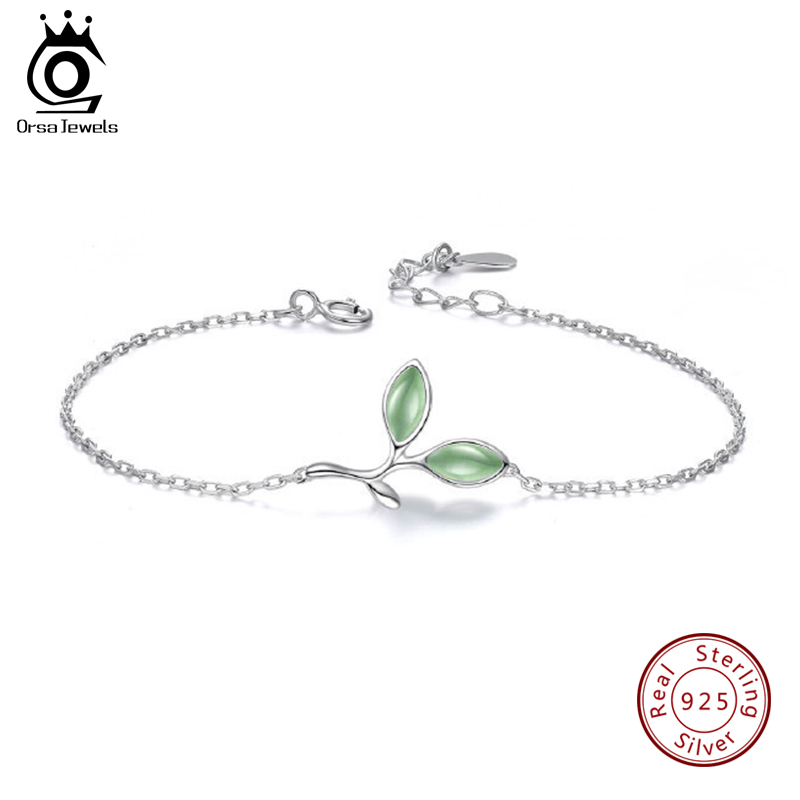 ORSA JEWELS Genuine 925 Women Bracelets Leaf Branch Female S