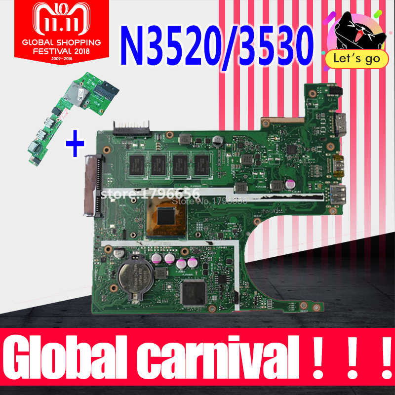 N3520/N3530 CPU 2Gb X200MA Motherboard REV2.1 For ASUS K200MA F200M laptop Motherboard X200MA Mainboard test 100% OK цена