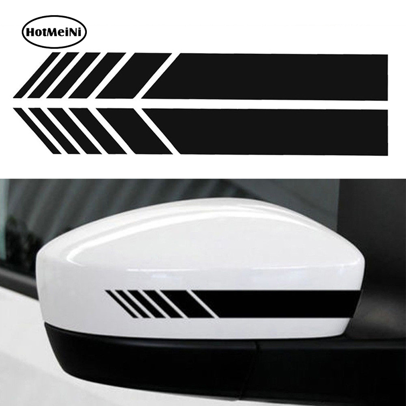 HotMeiNi 2pcs Car Styling Auto SUV Vinyl Graphic Car Sticker Rearview Mirror Side Decal Stripe DIY Car Body Decals 15.3*2cm car styling auto amg sport performance edition side stripe skirt sticker for mercedes benz g63 w463 g65 vinyl decals accessories