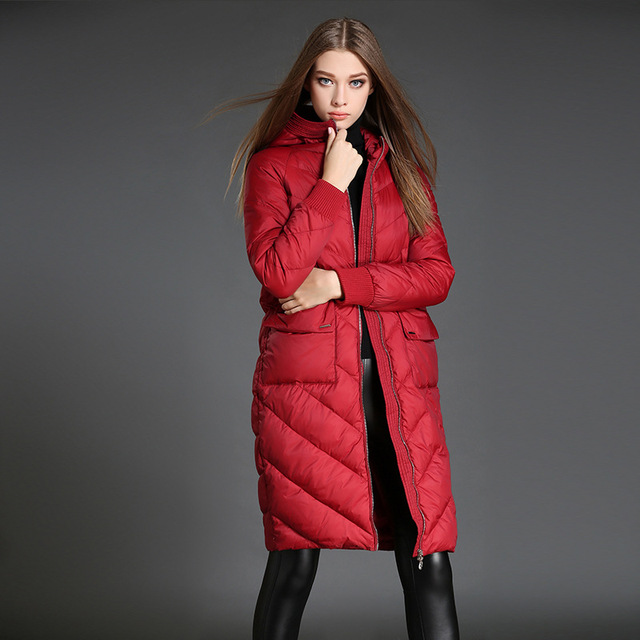 48d9b8d3a Europe station Large size Women Hooded Cocoon type Long section Down jacket
