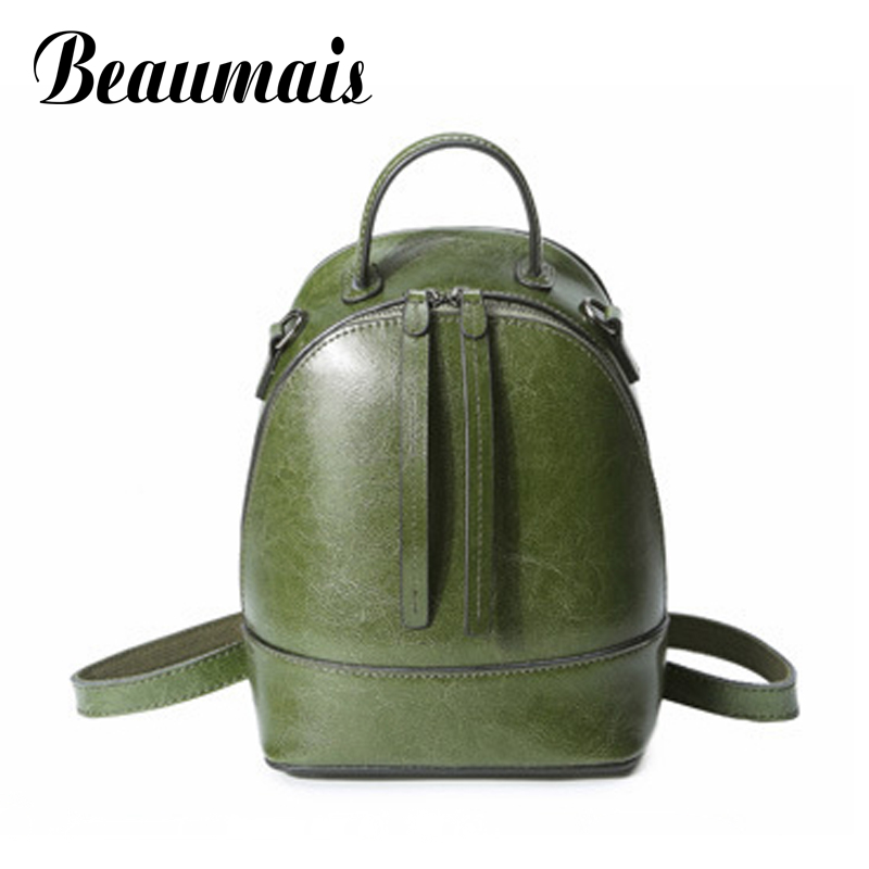 Beaumais 2017 Genuine Leather Women Backpacks School Bags For Teenager Girls Leather Backpack Shoulder Bag Travel Mochila DB6067 new brand designer women fashion backpacks simple koran style school for teenager girls ladies shoulder bags black