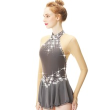 White Lace Flower Decoration Crystal Diamond Figure Skating Dress  For Girls And Women