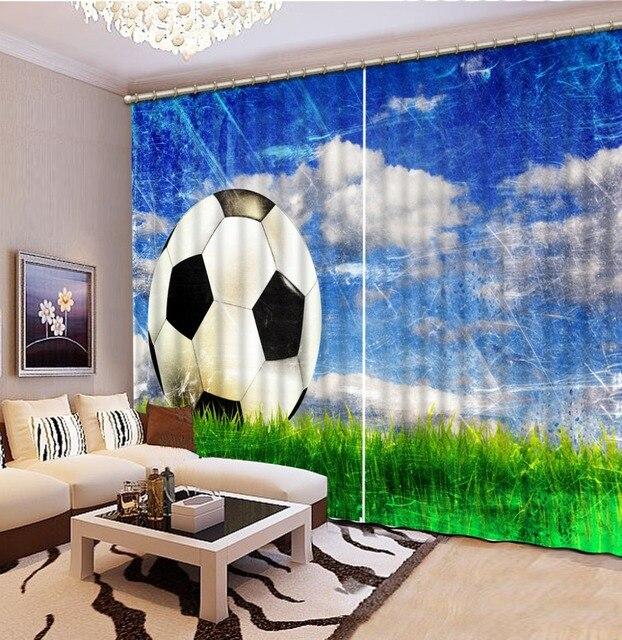 Gordijn Woonkamer Slaapkamer voetbal 3D Gordijnen sky natuur ...