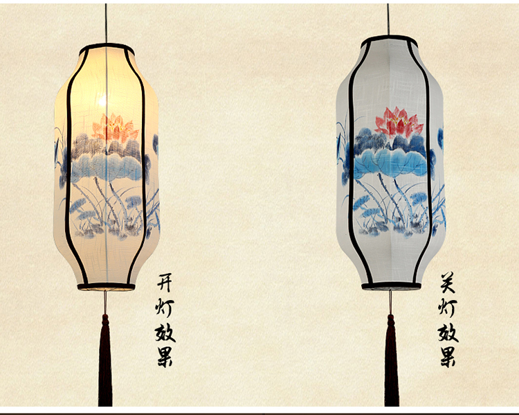 Chinese cloth teahouse pendant lights Chinese new linen fabric hand-painted lantern Chinese Restaurant pendant lamps ZA