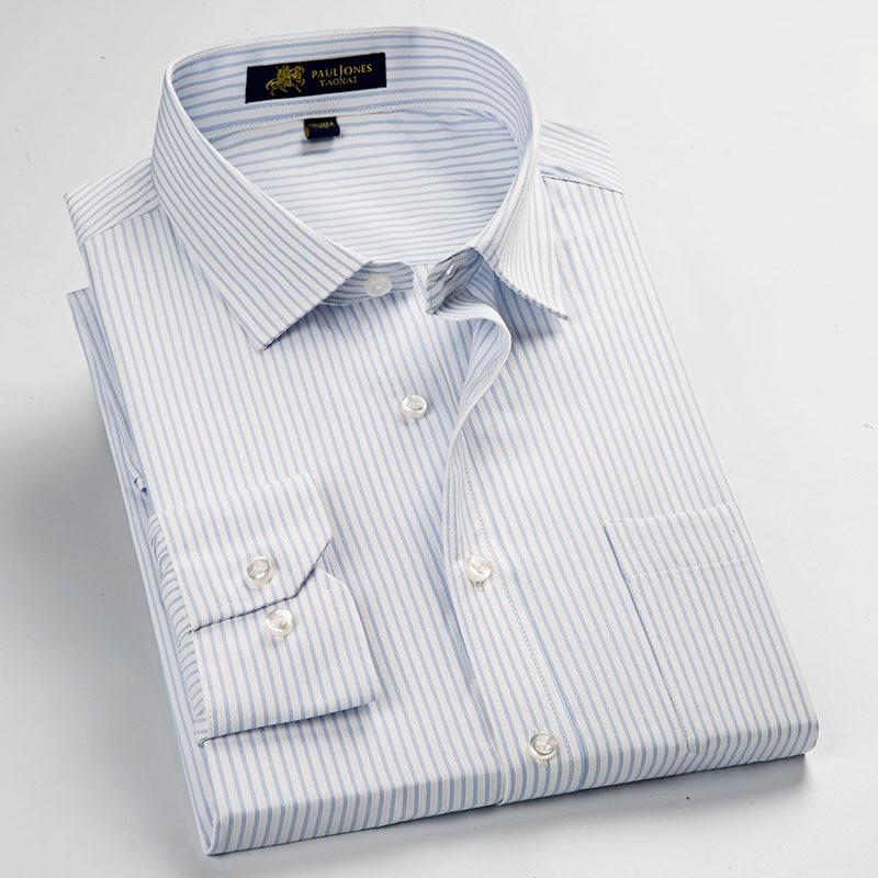 Striped Men's Dress Shirt Formal Business Social Shirts Classic Design Plus Size Long Sleeve Non-Iron Shirts