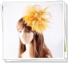 Señoras elegantes plumas fascinators sinamay sombreros mujeres accesorios para el cabello de lujo para la fiesta de boda nupcial sombreros y carreras OF1523