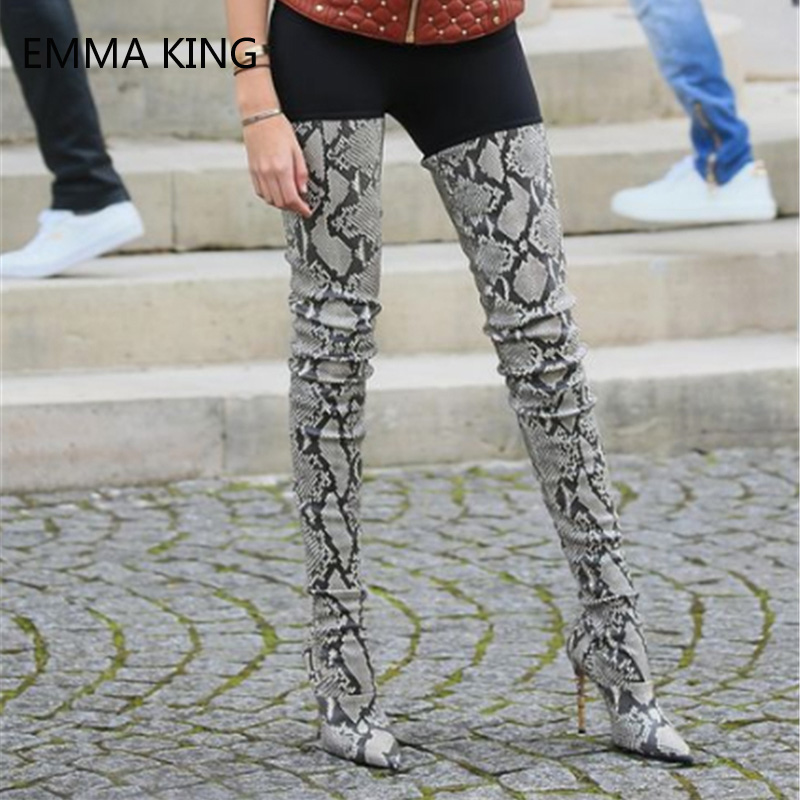 Botas Bottes Picture as Femmes Serpent Talons Picture Cuir Taille Cuissardes Pointu Bout Brun 43 Hauts Motif Stiletto Long Grande En 35 As BR5w1Rvq0y