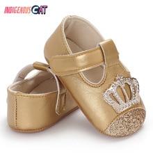 Baby Shoes Spring Autumn PU Newborn Girl Princess Crown Bling First Walker Crib 0-18M
