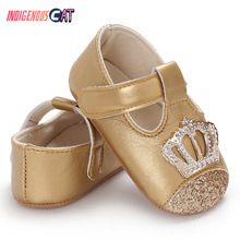 Newborn Shoes Baby Girl PU Leather Shoes Kid Moccasins First Walkers Crown Bow Soft Soled Non-slip Footwear Crib Shoes 0-18M цены онлайн