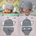 Newborn Baby Boy Girl Crochet Elephant Hat Diaper Set Knitted Infant Baby Photo Props Crochet BABY Animal Costume WLS-15002