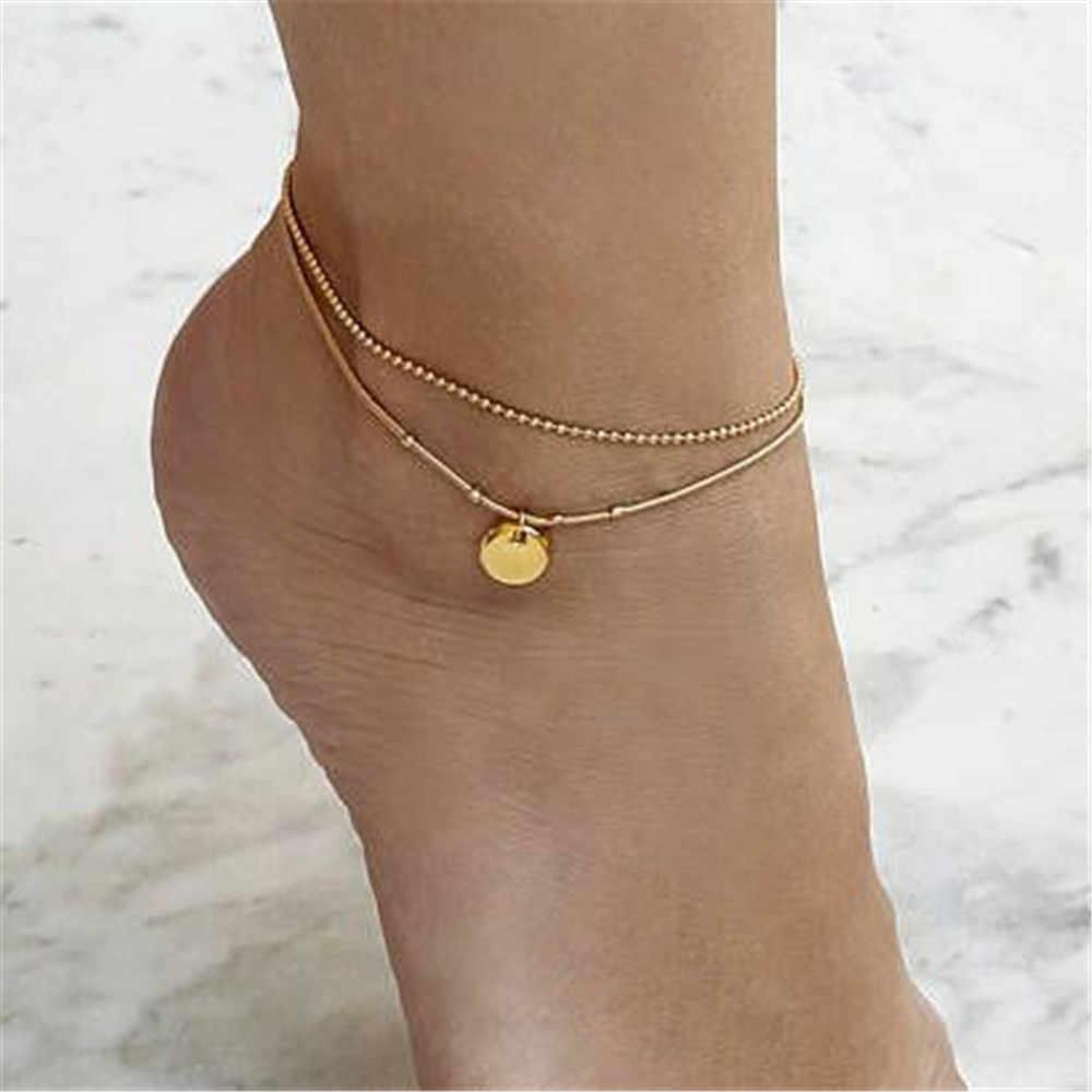 Античная сердечко серебряного цвета браслет на лодыжку звезда Для женщин бусины геометрический браслет шарма Винтаж богемный украшения для щиколотки стопы A206