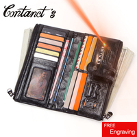 Contact's Genuine Leather Long Wallet Men Coin Purse Male Clutch Walet With Cell Phone Bag Portomonee Card Holder Free Engrave