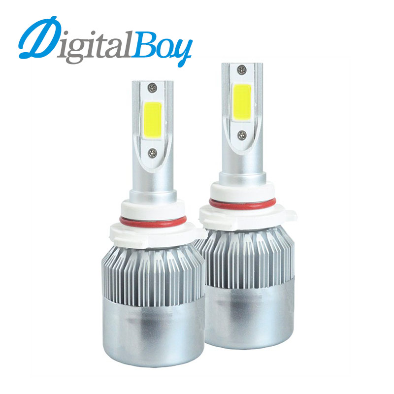 Digitalboy Brand New 6000K White COB Chips 9005 Led Headlight HB3 Car Bulbs Auto Front Head Bulb 72W 7600LM All in one Fog Lamps qvvcev 2pcs new car led fog lamps 60w 9005 hb3 auto foglight drl headlight daytime running light lamp bulb pure white dc12v