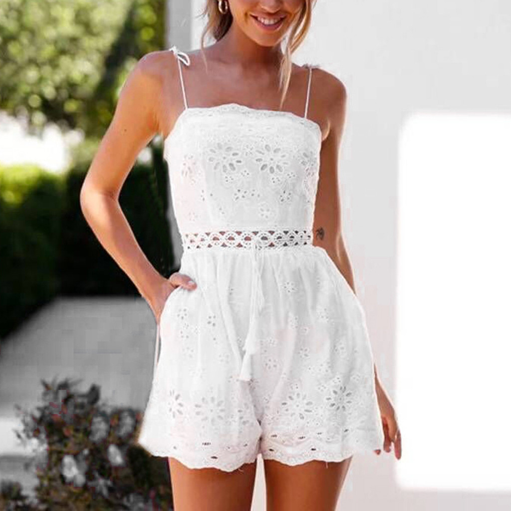 Sexy white Lace print Hollow Spaghetti straps Romper Women summer chest wrapped Party Midi Rompers   Jumpsuit   beach style Playsuit