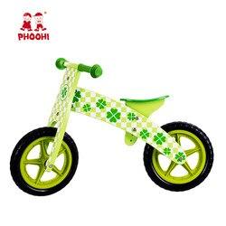 Drewniany rowerek biegowy dla dzieci gra na świeżym powietrzu rower zielony czterolistny dziecięcy rowerek biegowy dla dzieci PHOOHI