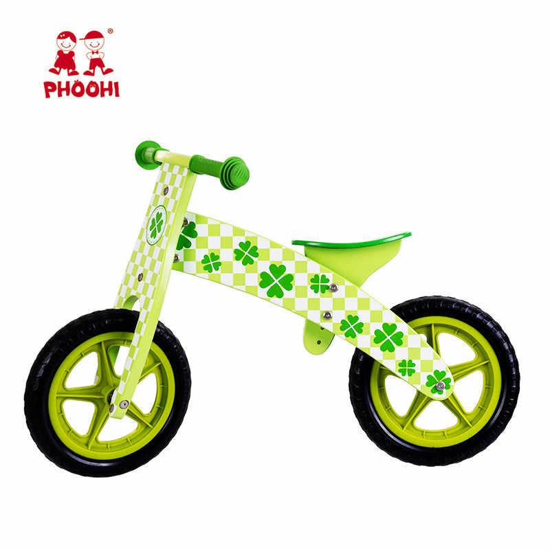 Wooden Balance Bike Children Outdoor Play Bike Green Four Leaf Baby Balance Bike For Kids Phoohi