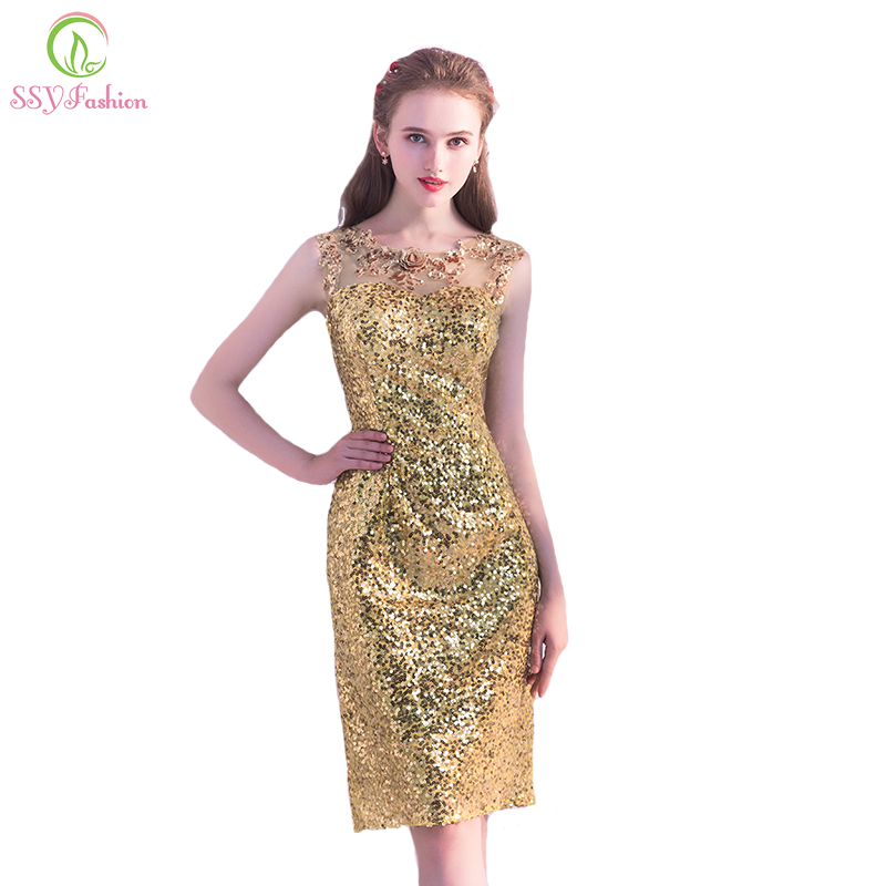 SSYFashion New The Banquet Luxury Short Evening Dress Gold Sequins  Sleeveless Slim Sexy Blingbling Party Gown Reflective Dress 657300aa0