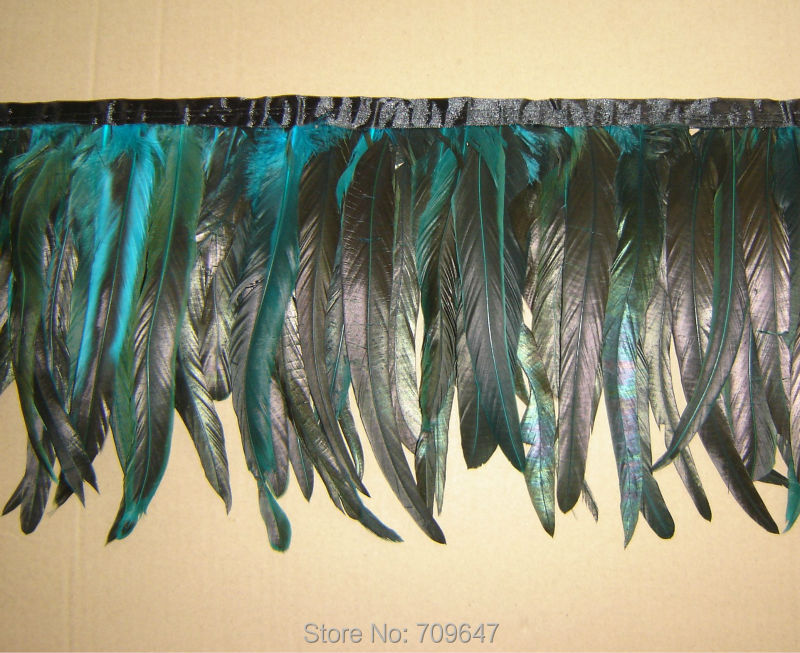 Black Natural Rooster Tail Feathers Fringe Trim
