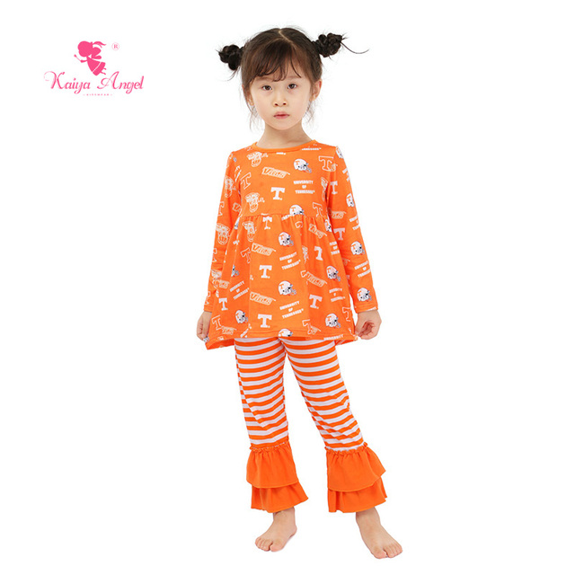 Kaiya Angel Kids Clothes 2 Piece Outfits For Girls Halloween Orange
