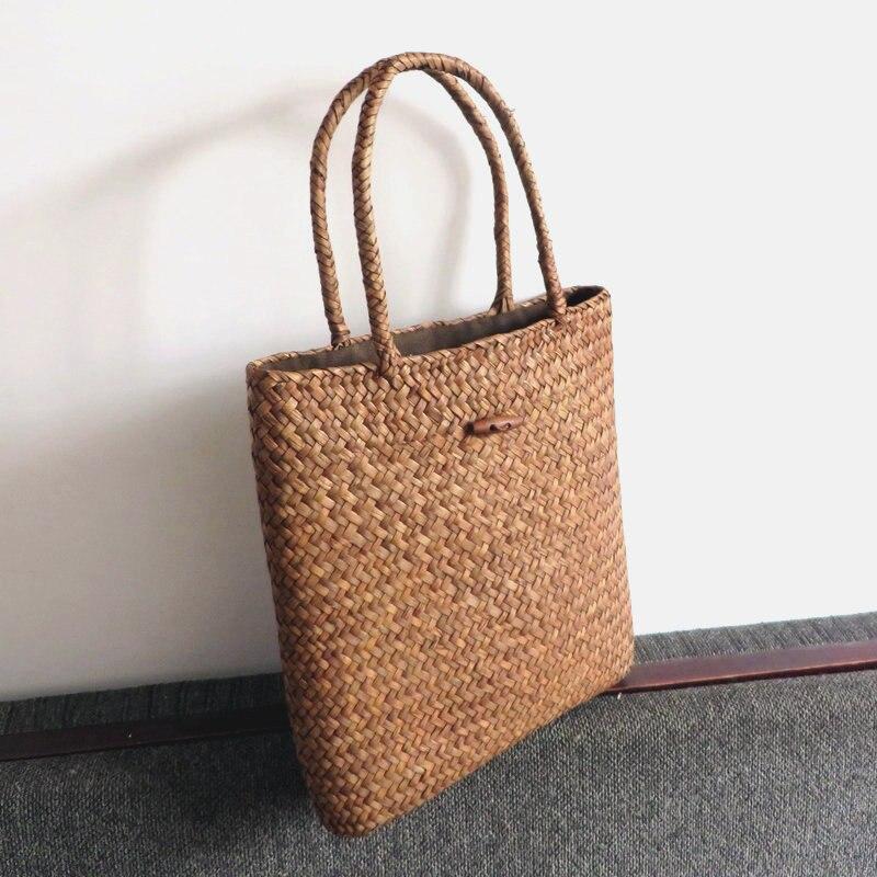Women Summer Beach Tote Woven Bag Casual Female Lady Straw Knitted Shoulder Bag Best Gift For Girl Teenager bolsa feminina