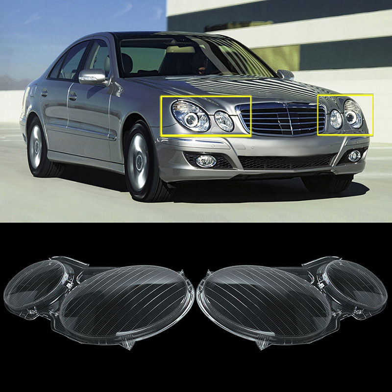 New 1 Pair Polycarbonate Headlight Left & Right Headlamp Clear Lens Cover For Mercedes Benz E CLASS W211 E320 E350 E280 E300 1 pair left