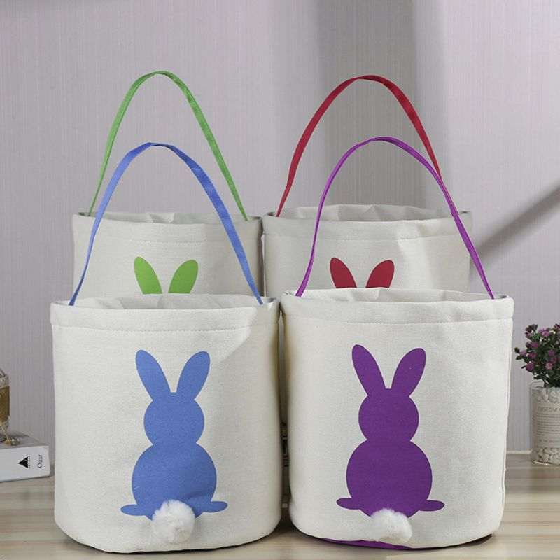 Easter Egg Rabbit Bunny Tail Basket Canvas Carrying Bag Tote Bucket Holiday Celebration Party Decoration in Party DIY Decorations from Home Garden